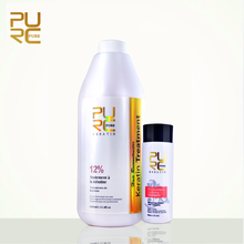 PURE Repair and Straighten Damage Hair Product 12% Formlain 1000ml Pure Chocolate Keratin Treatment and Purifying Shampoo Set cheap 1000mlchocolate keratin treatment 8% formaldehyde 500ml purifying shampoo straighten hair product and treatment