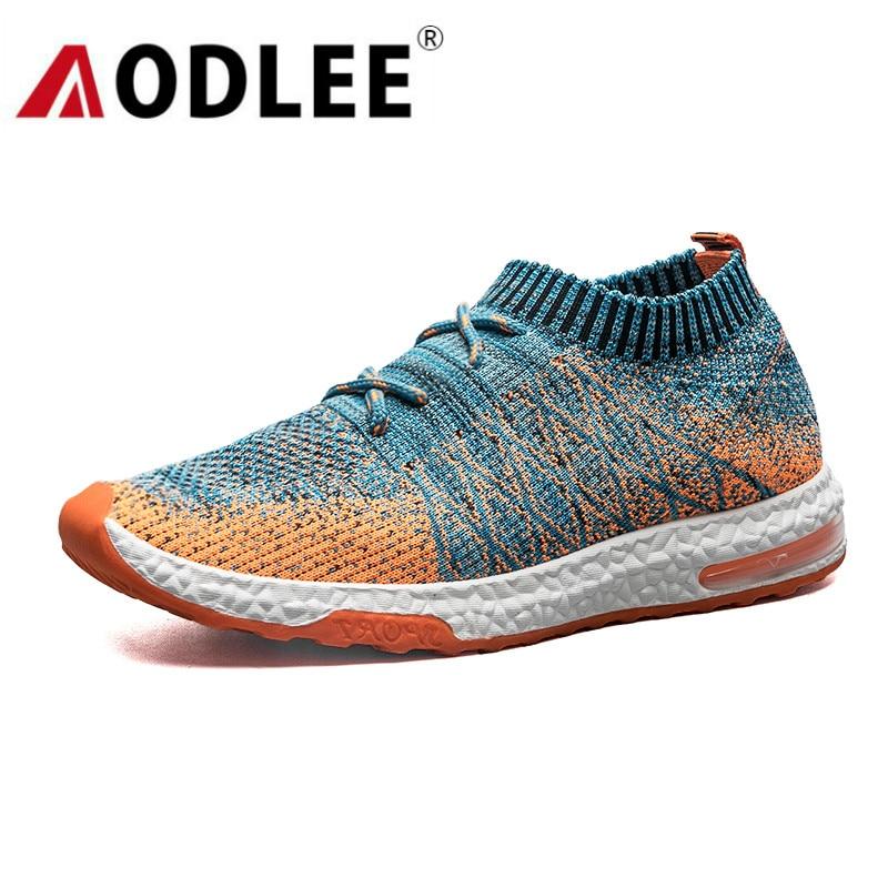 Formateurs Lumière Respirant gris Casual orange Mode Mesh Sneakers Hommes Aodlee Tissage Flyknit Noir Chaussures Douce CBodWxre
