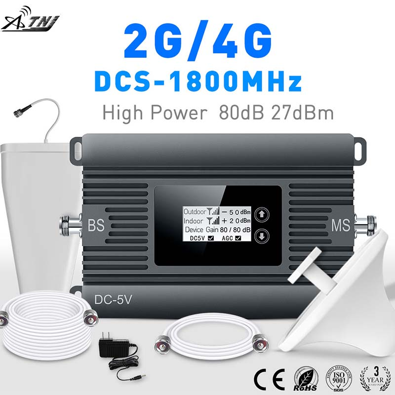 2G 4G signal booster High Power 80dBi DCS 1800mhz smart mobile signal booster 4g repeater 2g