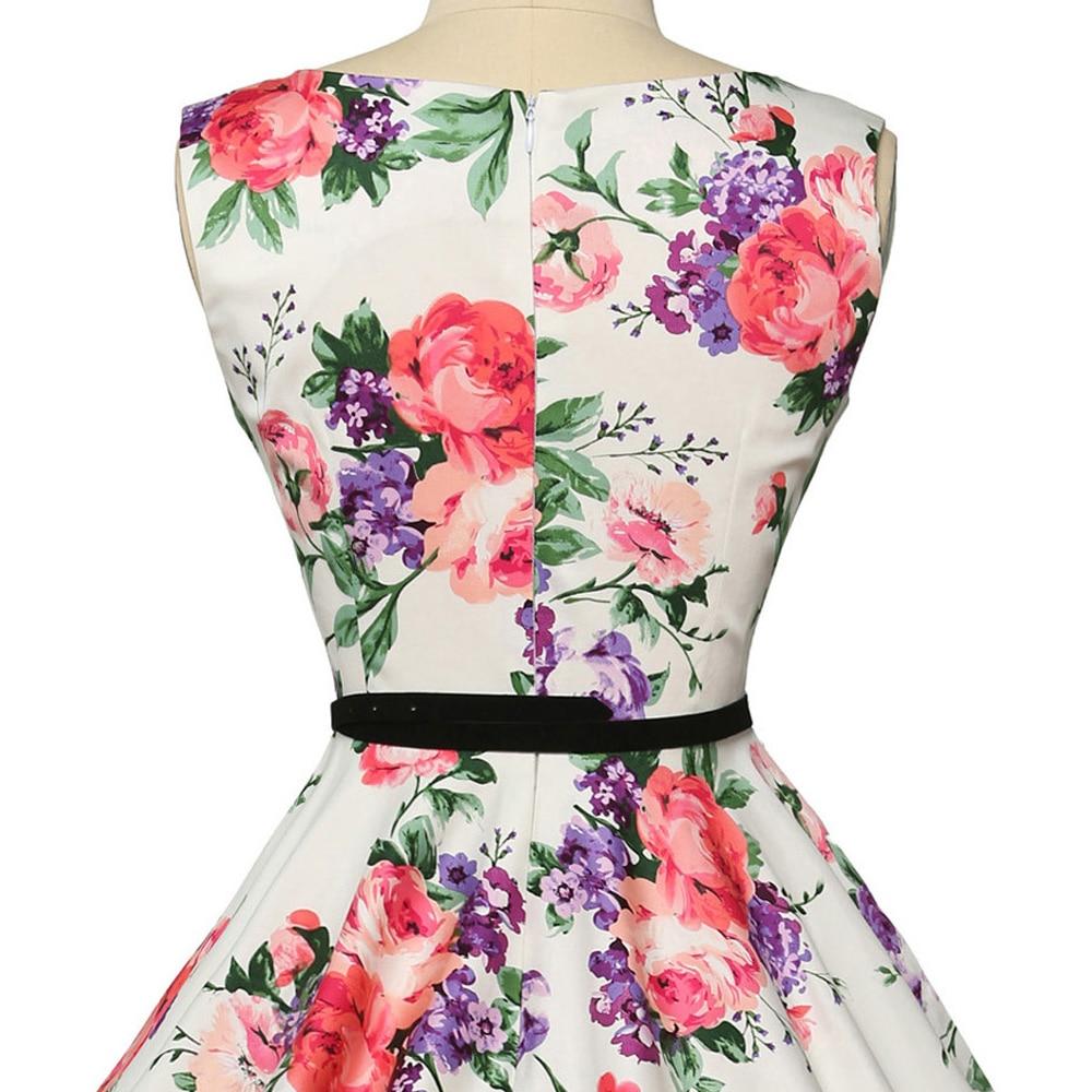 Wanita musim panas dress 2018 wanita floral retro vintage dresses 50 - Pakaian Wanita - Foto 5