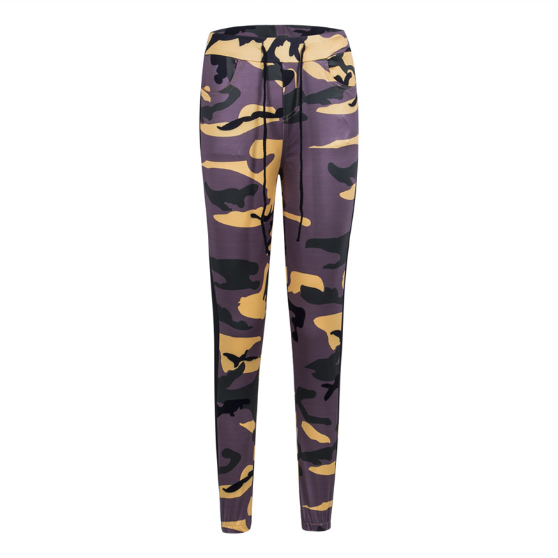 Fall Autumn Women Ladies Popular Fashion Causal New Pocket Floral Skinny Legging Pleated High Waist Camouflage   Pants     Capris