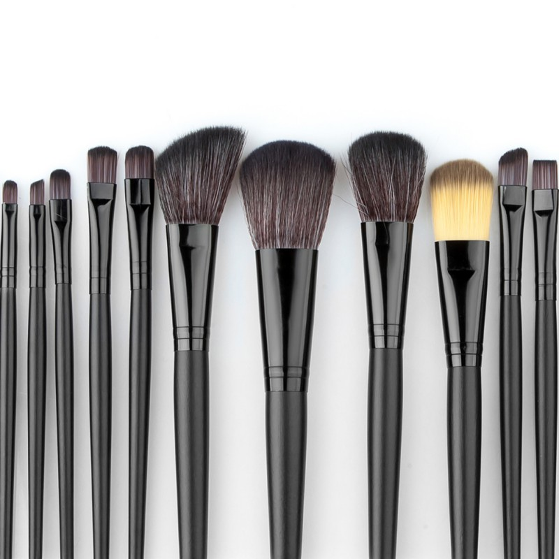 Professional 32 PCS Cosmetic Facial Make up Brush Kit Wool Makeup Brushes Tools Set with Black Leather Case S1 hot sale 2016 soft beauty woolen 24 pcs cosmetic kit makeup brush set tools make up make up brush with case drop shipping 31