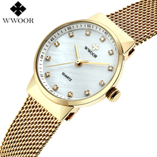 Top Brand Luxury WWOOR Women Waterproof Gold Watches Women's Quartz Analog Clock Ladies Stainless Steel Watch Small montre femme