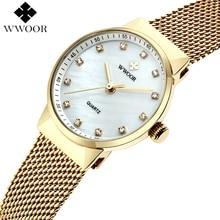 WWOOR бренд Для женщин часы Водонепроницаемый кварцевые часы Для женщин золотые часы Роскошные Нержавеющаясталь женские наручные часы женские Montre Femme