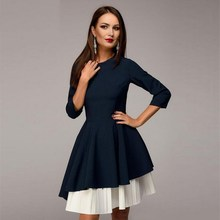 2018 spring and autumn new fashion retro seven-point sleeve round neck irregular stitching party dress