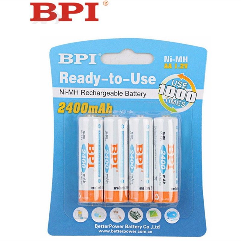 все цены на 4 x BPI AA Batteries NI-MH 2400Mah 1.2V AA Rechargeable  Battery 2A Electronic Toys Camera flashlight Bateria онлайн