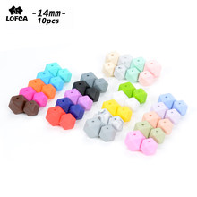 LOFCA10pcs 14mm Mini Hexagon silicone beads Baby Teether BPA Free DIY Necklace Pacifier Chain Baby Teething Care Infant(China)