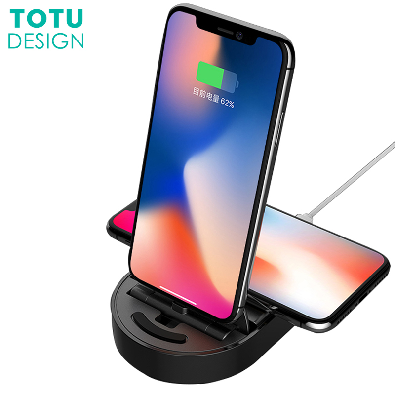 TOTU Qi Wireless Charger For iPhone X 8 7 Plus Samsung Note 8 S9 S8 Plus S7 S6 Edge Fast Wireless Charging Docking Dock Station