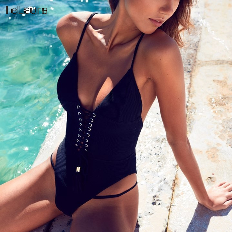 2018 Sexy Bandage One Piece Swimsuit Women Swimwear Strappy Monokini Padded Swim Suit Solid Backless Bathing Suit Beach Wear black lace up swimsuit one piece swimwear women 2017 female backless bandage lace bathing suit swim wear beach monokini bodysuit