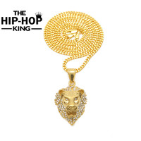 Hip Hop Lion Head Pendant Necklace For Men Luxury Iced Out Cz Simulated Diamonds Stainless Steel