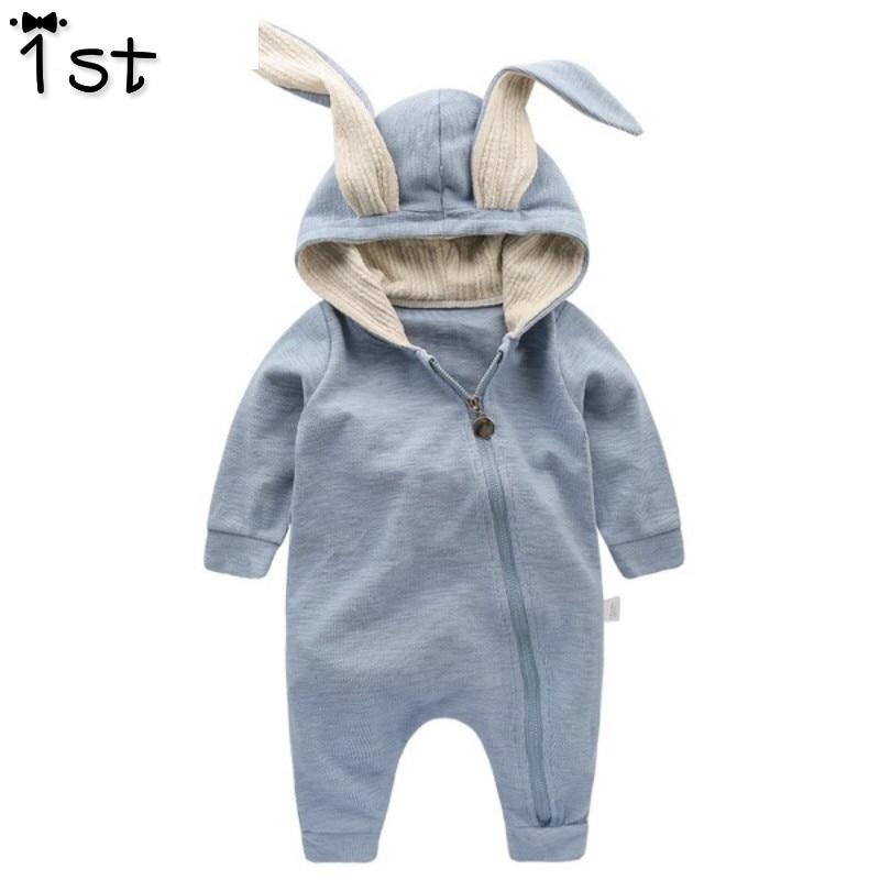 1st recién nacido bebé Niñas Ropa Romper algodón de manga larga mono conejito trajes One piecer 3D oído ropa k1