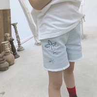 baby short pants 2019 new design girls pants Cotton light blue flower embroidery baby shorts kids jeans
