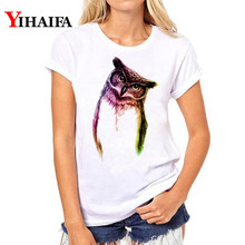 Women 3D Print T Shirt Gradient Color Owl Animal Tops Female Tee shirt Fashion Short Sleeve Clothes White T-shirts