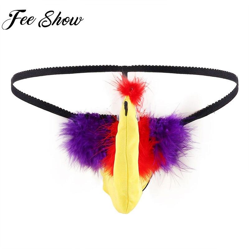 Mens Lingerie Panties Christmas Funny Turkey Bird Cosplay Costume Sissy Bikini G-string Briefs T-Back Thong Underwear