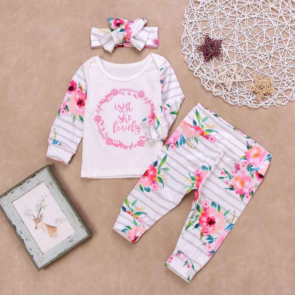 Newborn Clothes 2018 3PCS Baby Girl Clothes Set New Born Girls Sets Infant Baby Long sleeve Tops+Pants+headband Outfits suit halloween newborn baby girls hot clothing set fashion new letter long sleeve bodysuit tops mesh orange bow skirt outfits sets