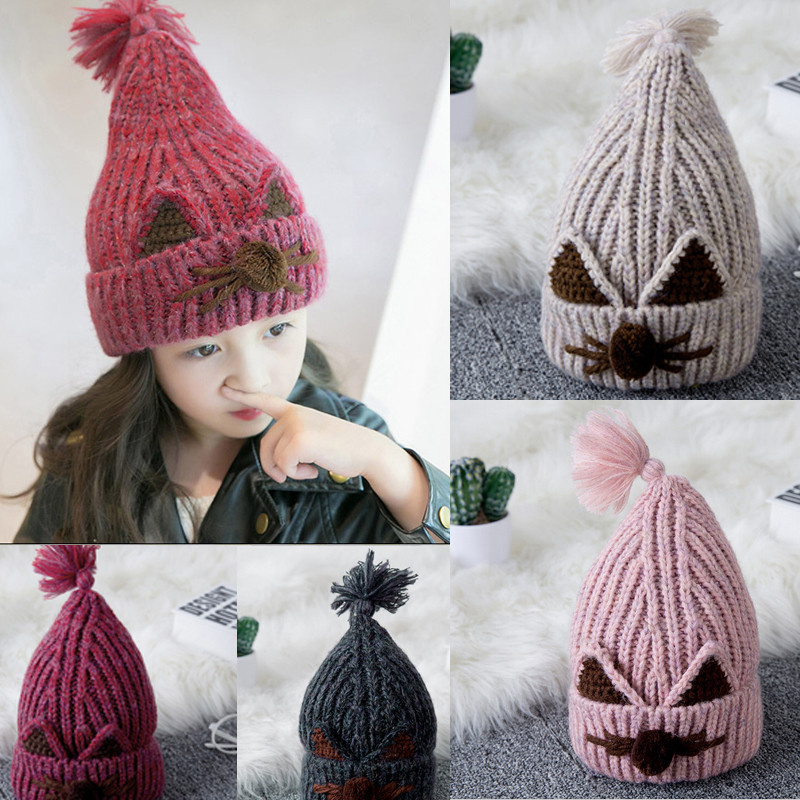 New Cute Children Kids Girls Boys Baby Winter Warm Crochet Knitted Wool Causal Hat Beanie Cap Skullies Fall Autumn knitted skullies cap the new winter all match thickened wool hat knitted cap children cap mz081