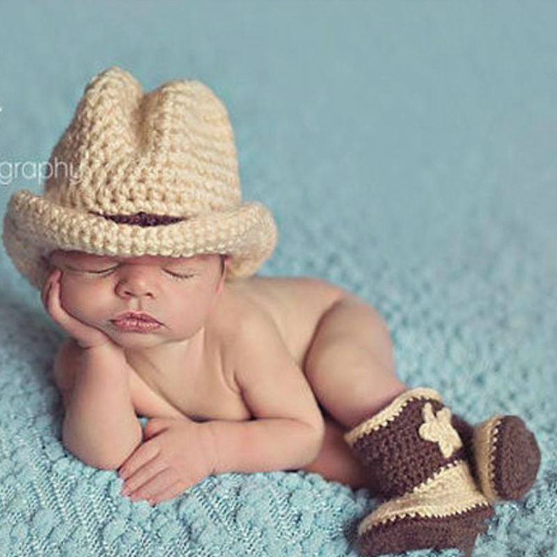 New Arrival Newborn Baby Photo Props Floral Pattern Cotton Material Cowboy Hat+Shoes Baby Photo Accessories Unisex High Quality