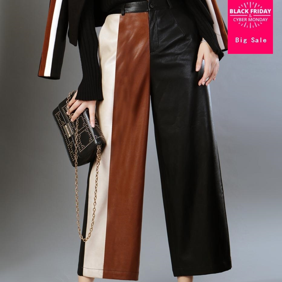 PU cuir pantalon femmes 2018 automne et hiver lâche cheville longueur pantalon frappé couleur couture PU jambe large pantalon pantalon L1594