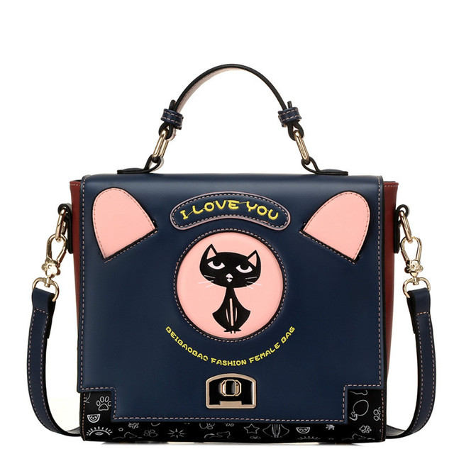 Women handbags students girls casual totes cross body messenger bags cute kitty cat cartoon fashion shoulder bags black blue