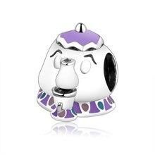 Аутентичные стерлингового серебра 925 Фиолетовый эмалированный чайник талисманы Бусины Pandora шарм браслеты DIY модные ювелирные изделия