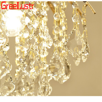 Vintage Ceiling Light Fixtures | Vintage LED Crystal Pendant Lamp Chandeliers Gold Iron Ceiling Lamp Indoor Light Fixtures Home Decoration Living Room Hotel