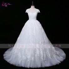 Waulizane Charming Appliques Tulle V-Neck Princess Wedding Dress Manik halus Lace Up Court Train Ball Gown Pengantin Pakaian
