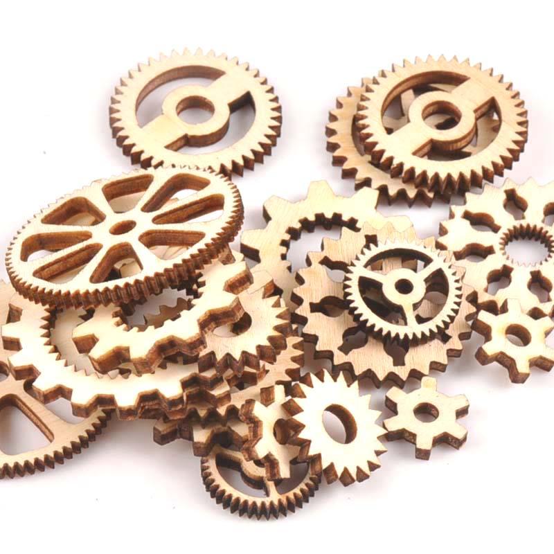 20pcs 13-40mm Mixed Wheel Gear Wooden Ornaments Scrapbooking Wood Decoration DIY Craft Supplies Handmade Accessories M1816