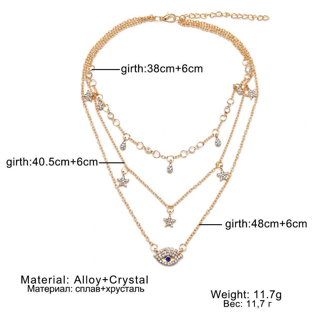 Collier ras du cou couleur or pour femmes Long œil gland pendentif chaîne colliers et pendentifs lacets velours chokers bijoux fantaisie