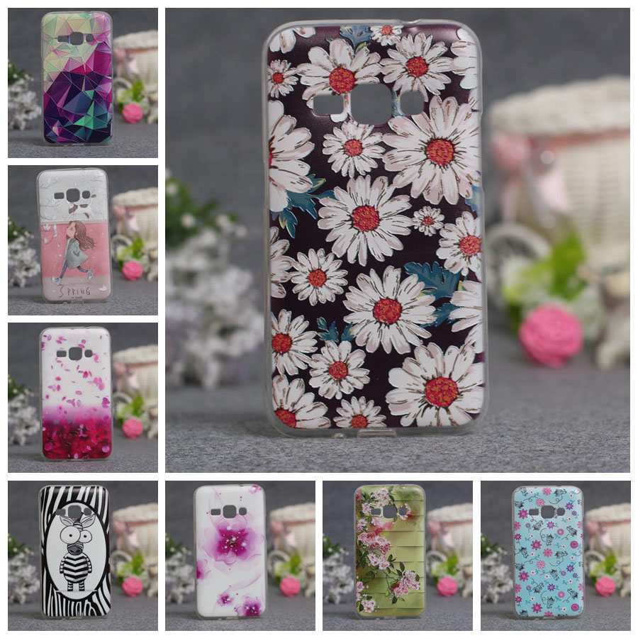 Abstract Flower Painting Soft TPU Capa Case For Samsung Galaxy J1(6) J120 J120F J1 2016 SM-J120F Cartoon Fundas Phone Cases