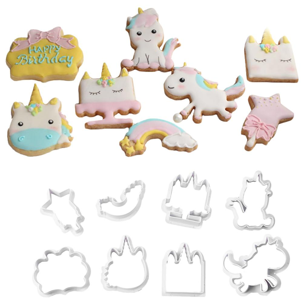 8PCS / Set Cookie Mold Multiple Styles Innovative Unicorn DIY Cake Chocolate Cake Embossed Template Mold Biscuit Baking Tools image