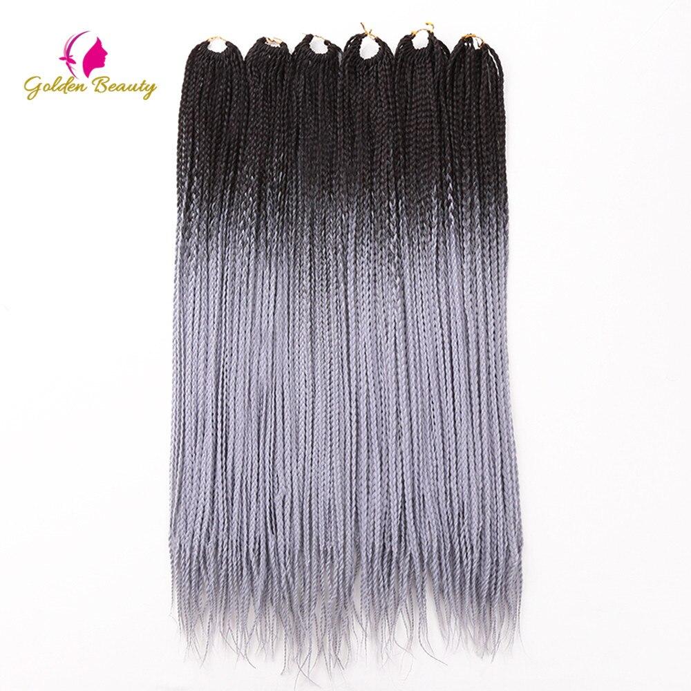 Golden Beauty 24inch Box Braid Synthetic Crochet Braiding Hair Extensions Long Hair For Women Heat Resistant Fiber ( 24 Strands)