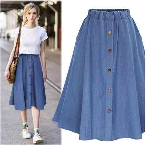 Faldas mujer moda 2019 корейский стиль преппи деним Женская длинная джинсовая миди юбка с высокой талией saia большой подол металлическая кнопка юбка LJ577