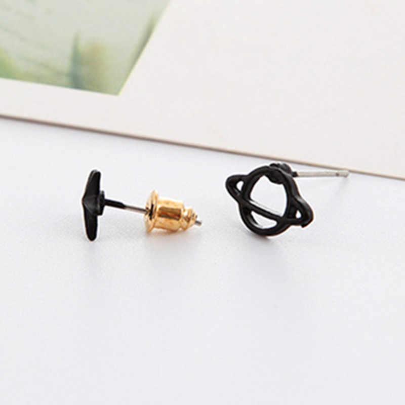 Nueva venta lindos aretes negros de Color de pistola Planet Star y Saturno para mujer pendientes de perforación del espacio moda creativa pendiente G