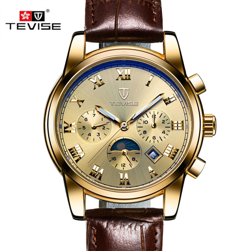 fashion moon phase brand tevise automatic