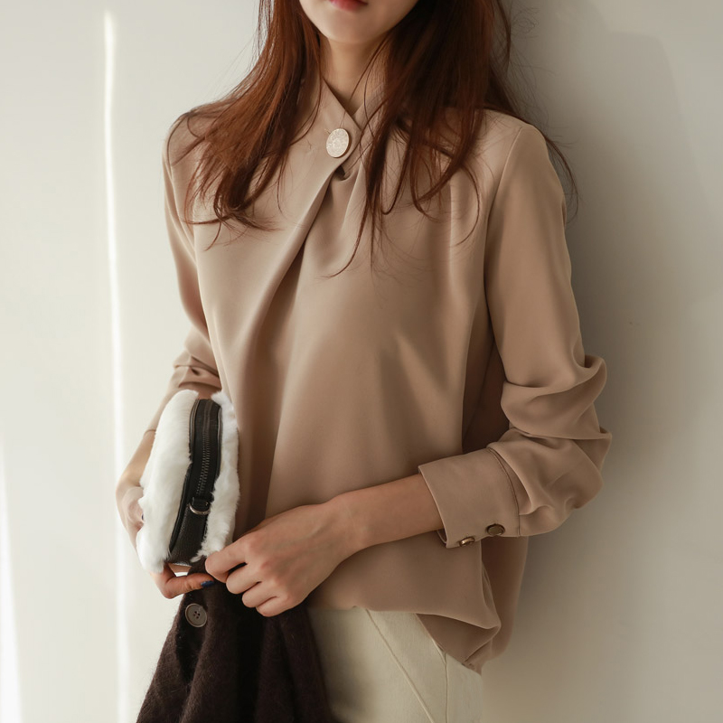 BGTEEVER Office Ladies Solid Long Sleeve Tops Elegant Women Blouses Shirt Stand Collar Soft Blusa femme 2018 High Quality