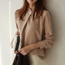 BGTEEVER Office Ladies Solid Long Sleeve Tops Elegant Women
