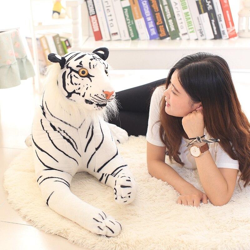 1 pc 110 cm Simulation Grand Tigre Blanc En Peluche Animaux Jouets En Peluche Jaune Tigre Oreiller Jouet D'anniversaire Cadeaux Valentine Jouets enfants Jouet