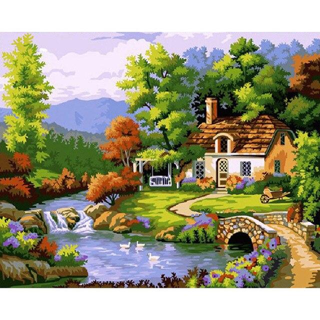 aliexpress.com : acquista primavera montagne capanna tela pittura ... - Decorare Soggiorno Fai Da Te