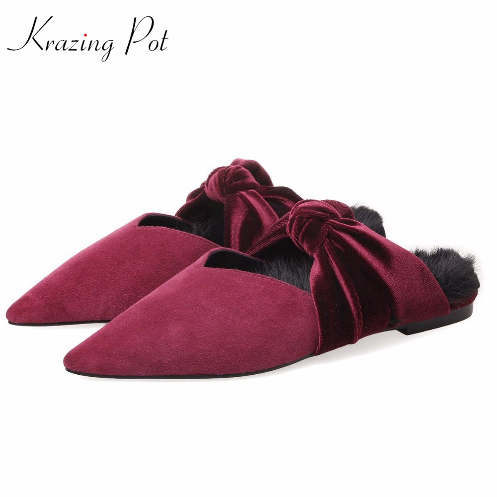 Krazing pot sheep suede rabbit fur superstar preppy style bowtie casual shoes pointed toe flats sweet women outside slippers L71 fashion sheep suede tassel casual shoes square toe slip on women pumps wedges superstar flowers preppy style increased shoes l01