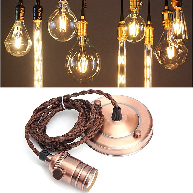 Newest E27/E26 2m Retro Vintage Edison Pendant Lamp Holder Copper Hanging Ceiling Rose Light Bulb Fixture With Sucker 110-240V стакан высокий опытный стекольный завод ode персик 230 мл