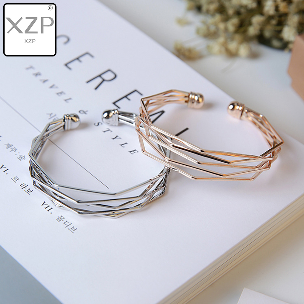 XZP 2019 Jewelry Woven Alloy Bracelet Open Hollow Geometric Wide Fashion Simple Style Cuff Bangle Female Charm