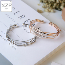 XZP 2019 Jewelry Woven Alloy Bracelet Open Hollow Geometric Wide Fashion Simple Style Cuff Bangle Female Charm