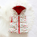 Outono inverno bebê menina Outerwear flor moda com capuz coletes para o bebé