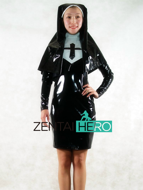 Free Shipping DHL NEW Sexy Elegant Black Nun PVC Zentai Suit Women Dress Zipper Back Party Halloween Cosplay Costume AXM152