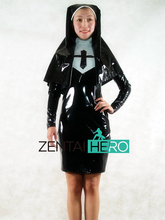 Free Shipping DHL NEW Sexy Elegant Black Nun PVC Zentai Suit Women Dress Zipper Back Party