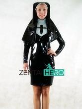 Free Shipping DHL NEW Sexy Elegant Black Nun PVC Zentai Suit Women Dress Zipper Back Party Halloween Cosplay Costume AXM152