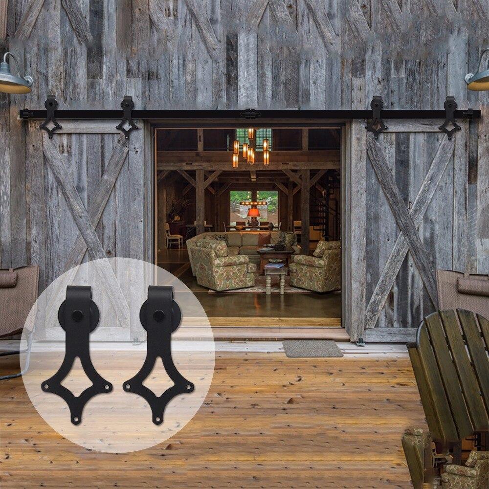 LWZH 16FT/18FT/20FT Interior Sliding Closet Door Barn Rhombus Shaped Hardware Kit Rail Track Roller For Sliding Double Door