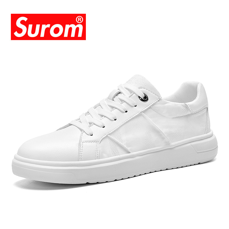 SUROM 2019 Summer New Sneakers Men Breathable Ice Silk fabric Casual Shoes Male air mesh White