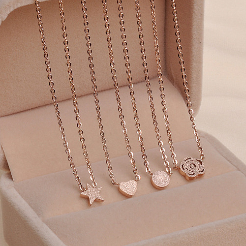 star 18k color rose gold necklace female short design chain