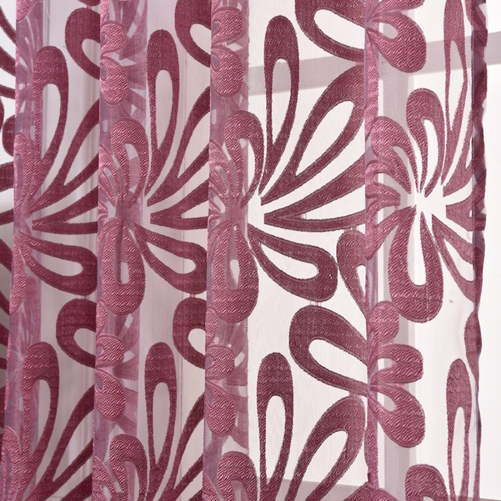 Floral Design Curtain Tulle Fabrics Sheer Curtains For
